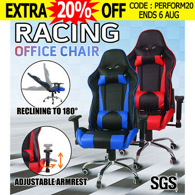Racing Office Chair Seat Executive Computer Gaming PU Leather Seat Desk Chair