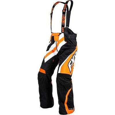 FXR MENS X-System BLACK/ORANGE BIBS WARM WINTER SNOWMOBILE SNOW PANTS- L-XL-2XL
