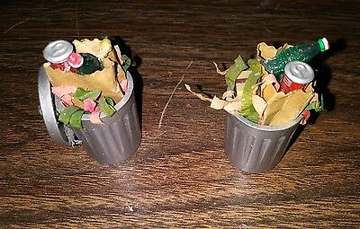 Department 56 Christmas trash cans set of two