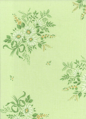 Vintage Sheet Fabric: Bradmill. Green Floral. Unused.