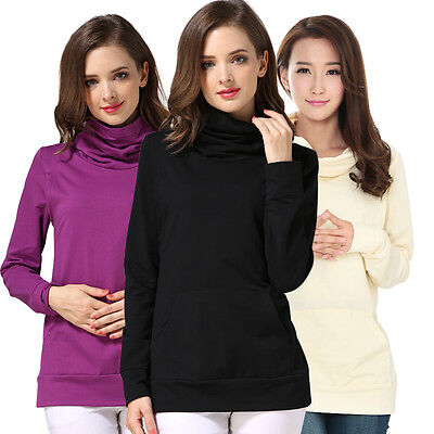 AU Maternity Nursing Clothes Women Turtleneck Long Breastfeeding Nursing Top