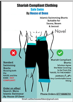 New Muslim Swimwear Swimming Islamic Men Shariah drop crotch board shorts pants