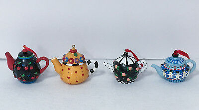 Mary Engelbreit Collectible Teapot Ornaments ~ Lot of 4 ~ FREE SHIPPING