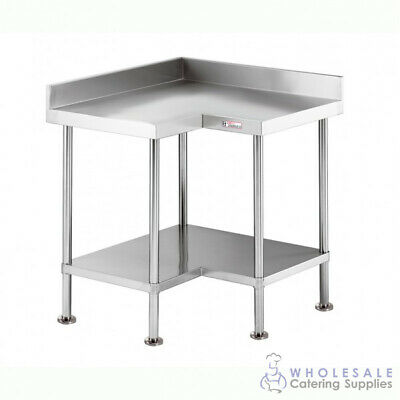 Corner Workbench with Undershelf & Splashback 900x700x900mm Simply Stainless