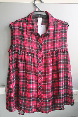BNWT Girls Red Tartan Check Top Size 7 Years Shirt Blouse Polyester Summer kids