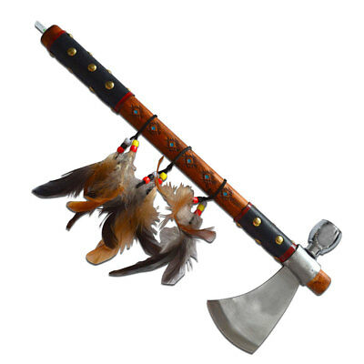 "Native American Indian Style 17.5"" PEACE PIPE Ceremonial TOMAHAWK Axe"