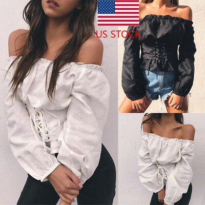 US STOCK Women Retro Sexy Lace-up Corset Off Shoulder Long Sleeve T-shirt Tops
