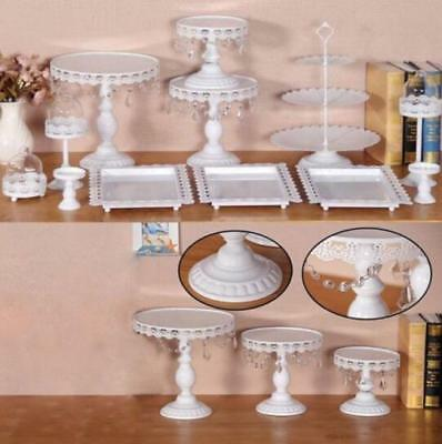 12x Decor Glass White Top Cake Stand Round Metal Wedding Party Cupcake Tower a