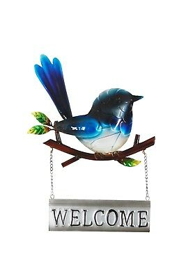 Blue Wren Welcome Metal Wall Art | Birds Iron Hanging Garden Sculpture 30 cm