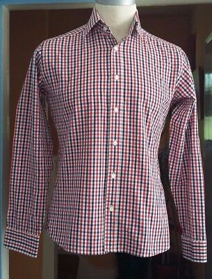 LAMBRETTA Long Sleeve CHECK Shirt SMALL mod indie vintage red white blue