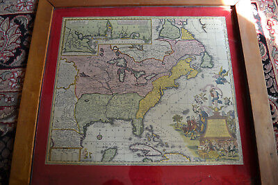 1778 Map of United States Hand Colored from Atlas Printed in Nurnberg, Germany