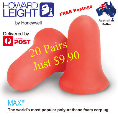 1, 10 or 20 Pairs Howard Leight Max Disposable Earplugs NRR33