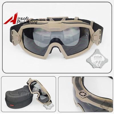 Tactical Regulator Goggles Eye Protective Safety Glasses With Fan & 2 Lens DE