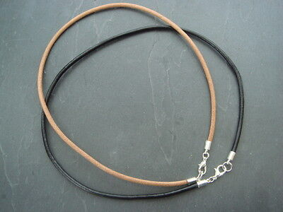 4mm leather cord necklace black or natural 12 - 30 inches + silver plated clasps