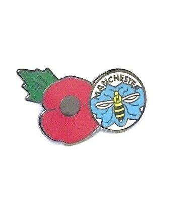 Manchester Poppy Bee Badge Pin