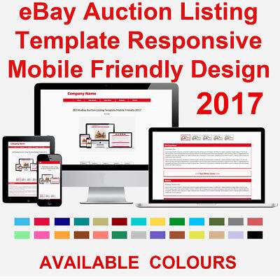 Red eBay Auction Listing Template HTML Responsive Mobile Friendly 2017 ZEFIR