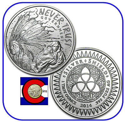 2014 Silver Shield Never Trust Government 1 oz. Silver Round/Coin in capsule