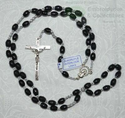 BLACK Rosary, 46cm Overall, Quadruple Interlock Links, Great First Rosary.