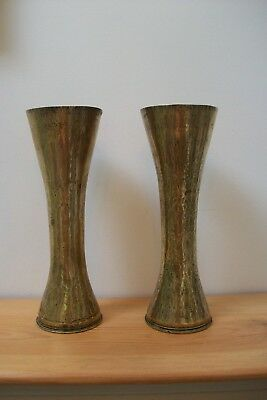 Antique Pair of French Fluted Brass Trench Art, European #31 unusual rare shape