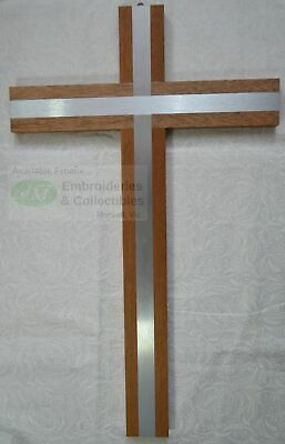 Wall Cross, Wood Cross With Silver Tone Metal Inlay, 400mm x 245mm, Made in Ital