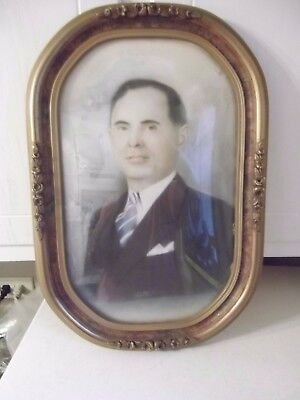 Vintage Ornate Gesso OVAL Convex Bubble Glass Frame Old Photograph