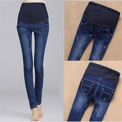 Maternity Pregnant Women Jeans Pants Stretchy Blue Cotton Nursing Trousers Hot!