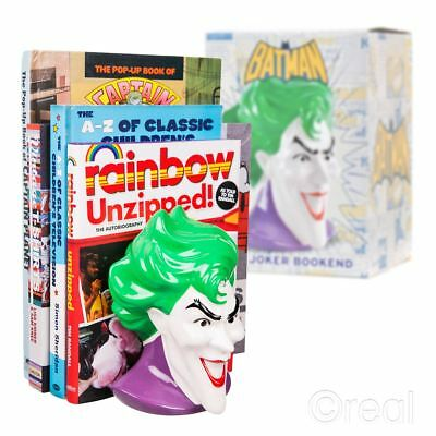 New DC Comics Batman The Joker Ceramic Bookend Head Bust Clown Official