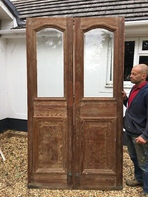 Large Edwardian Doors French Reclaimed Antique Period Old Bevelled Glass Pine.
