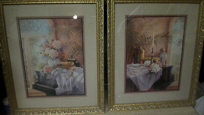 Homco Home Interior Picture Rare Victorian Piano Room By J. Gibson Set Of 2