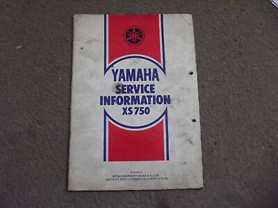 Mega Rare Genuine Yamaha Xs 750 Xs750 Service Information Factory Issue
