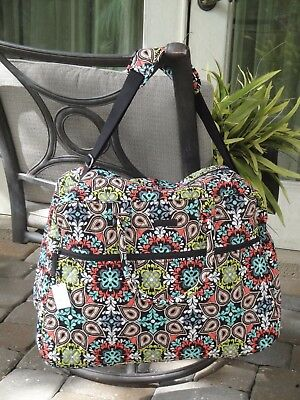 VERA BRADLEY GRAND TRAVELER BAG TOTE BLACK BLUE BROWN $120 NEW in SIERRA