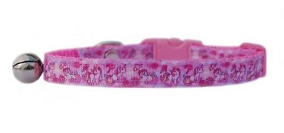 "Handmade   Pink  & White ""MAGICAL UNICORN ""   safety kitten cat collar 3 sizes"