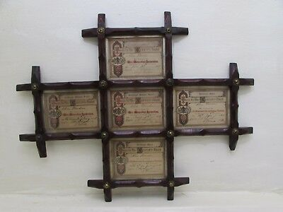Victorian 5 Segment Wood Picture Frame Containing Goldhanger School Certificates