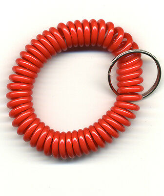 (200) Spiral Wrist Coil Key Chains - RED