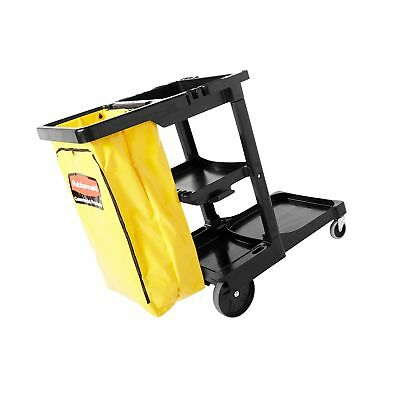 Rubbermaid Commercial Housekeeping 3-Shelf Cart with Zippered Yellow Vinyl Ba...
