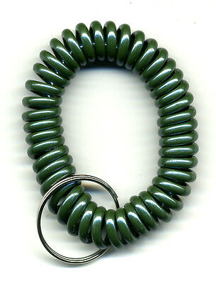 (200) Spiral Wrist Coil Key Chains - FOREST