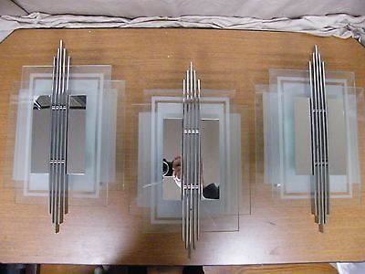 Art Deco Skyscraper Wall Sconces Chrome Frosted Glass Set of 3