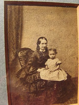 2 British VICTORIAN original framed photos~mother and baby & elderly woman~1900