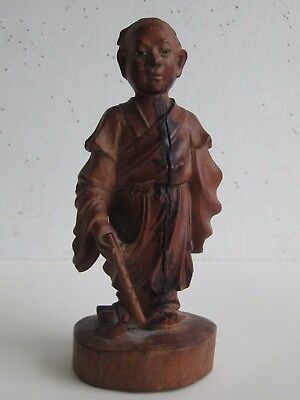 Fine Old Chinese Carved Wood Glass Eye Flute Musician Scholar's Figurine
