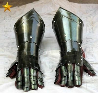 Medieval Knight Gauntlets Functional Armor Gloves Leather Steel SCA LARP GV4