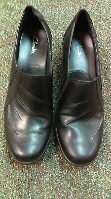 Clarks Black Leather Slip On Dress Comfort Shoes Us Womens 9M