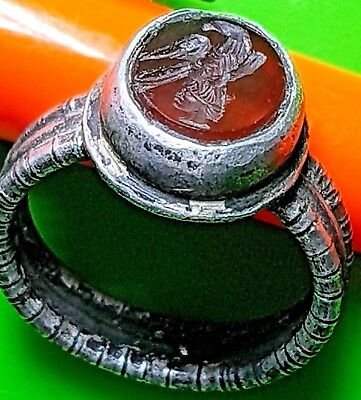 Beautiful Silver Roman Ring With Roman God Mars And An Eagle On A Red Stone