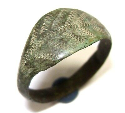 Ancient Rare Viking bronze ring with floral ornament.