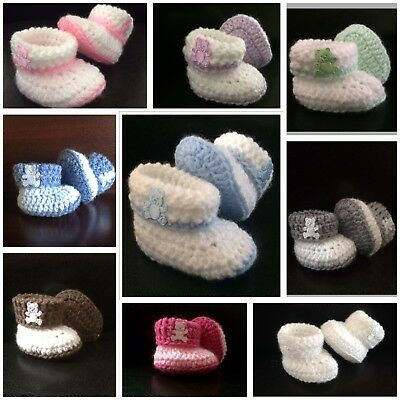 Handmade Crochet Baby Boy/Girls Cuffed teddy booties 0-3 / 3-6 Months blue/pink