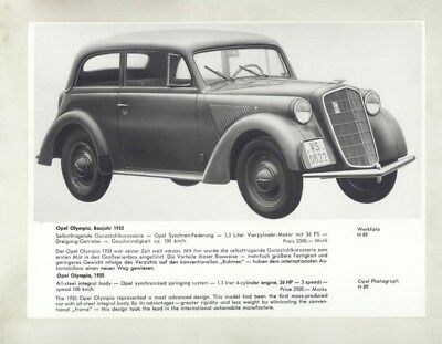 1935 Opel Olympia ORIGINAL Factory Photograph wy5359