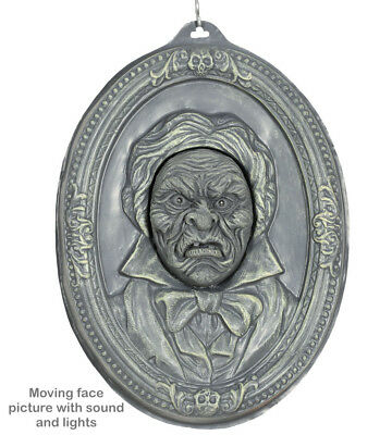 Halloween Prop Moving Mouth Talking Picture Frame GREY Gargoyle Gothic Party