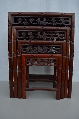Set Of 4 Antique Chinese Hand Carved Red Wood Carved Nesting Tables 1920