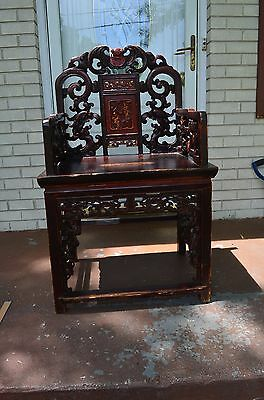Antique 19 th Century Old  Chinese Chairs And Stamp