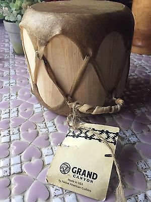 Grand Canyon  Indian Wood And Hide Drum Made By Native American Crafters