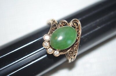 Old Chinese Green Jade And 14 K Gold Ring.